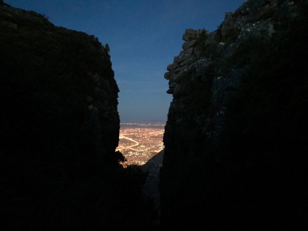 Platteklip Gorge looking down to the Cape Town City Centre